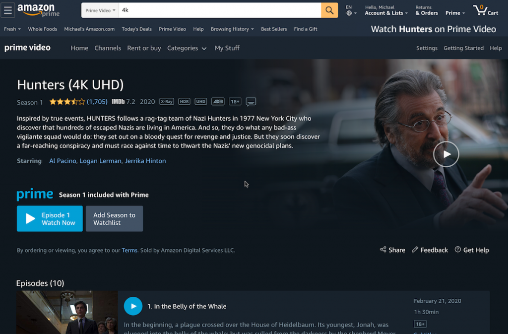 Screenshot of Amazon Prime streaming service.