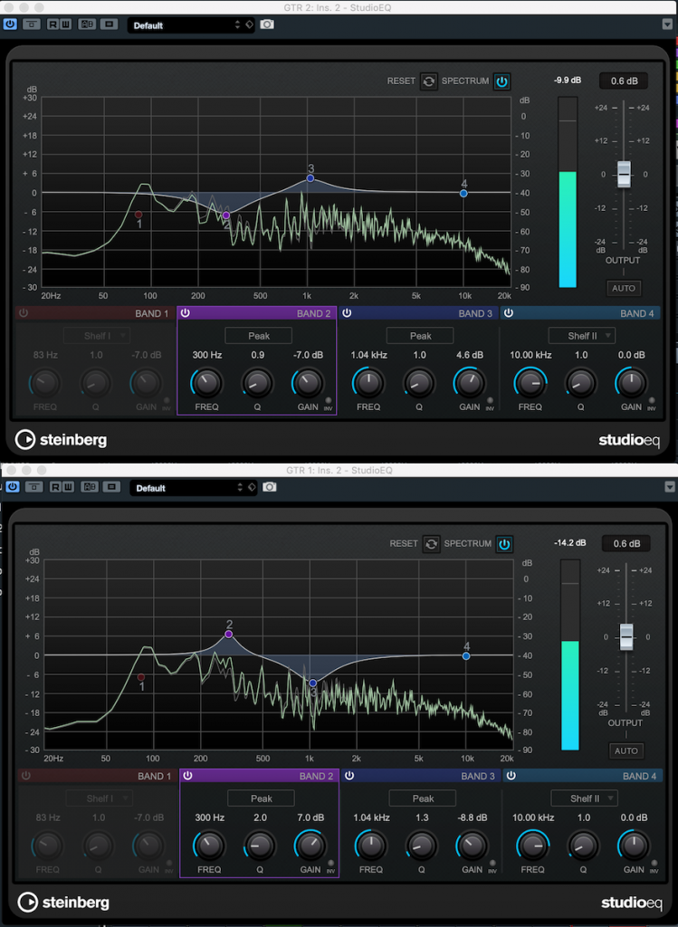 Screenshot from Steinberg Cubase showing user making EQ cuts and boosts to common frequencies.
