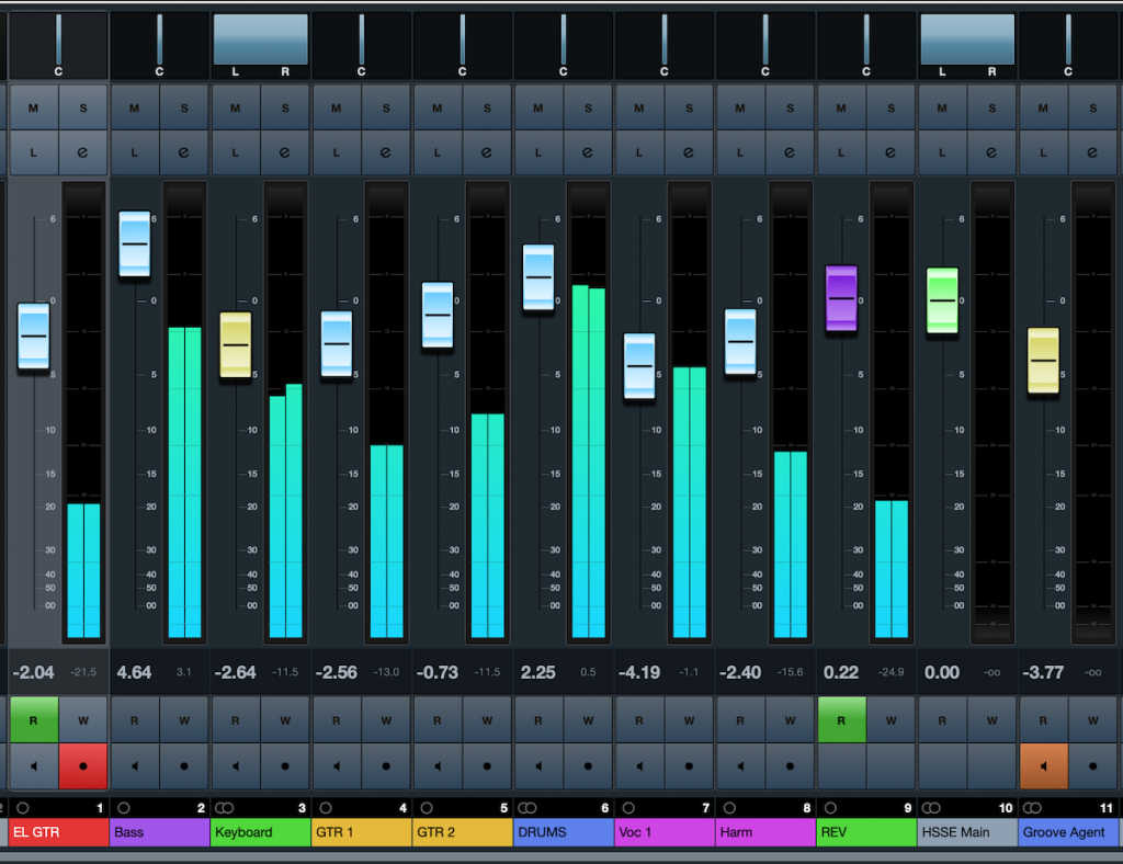 User balancing a track on Cubase.
