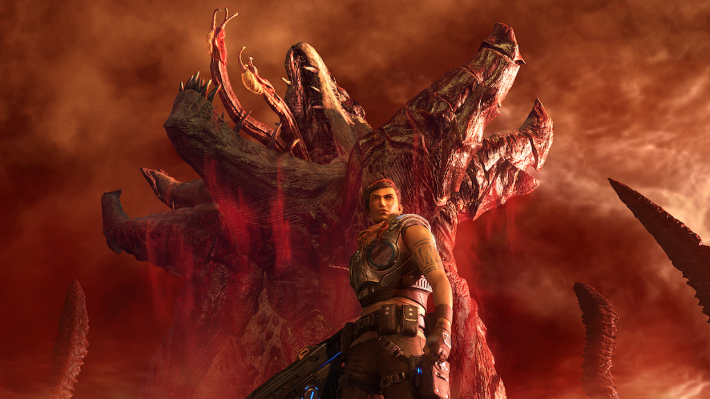 Battle scene from Gears 5 with large tentacled creature .