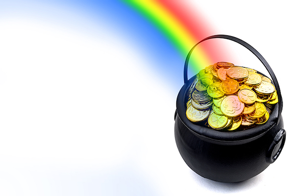 Rainbow leading to pot of gold coins.