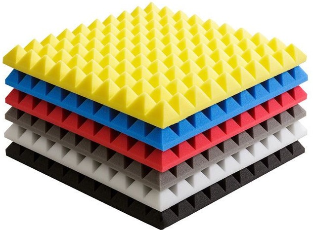 Acoustic foam pads in a variety of colors.