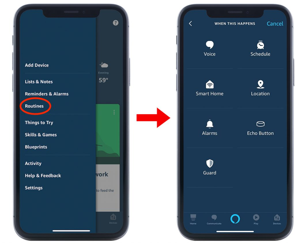 Diagram showing how to create routines in the Alexa app.