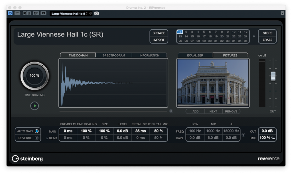 Screenshot of REVerence plug-in showing example of IRs from large Viennese hall.