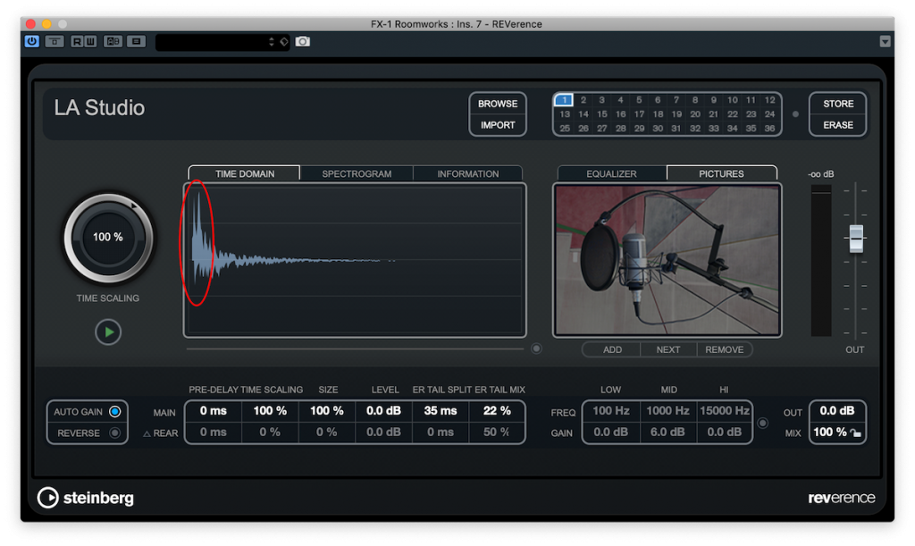 Screenshot of REVerence plug-in showing early reflections in a reverb waveform.