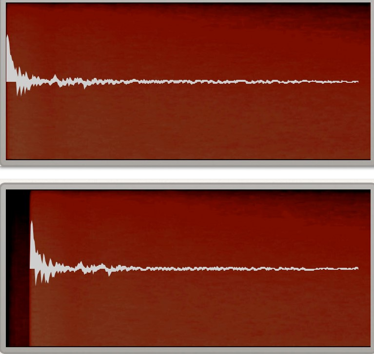 A reverb waveform without (top) and with (bottom) pre-delay.
