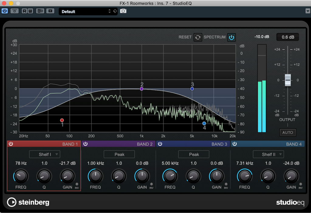 Screenshot of StudioEQ showing EQ plug-in inserted after a reverb.