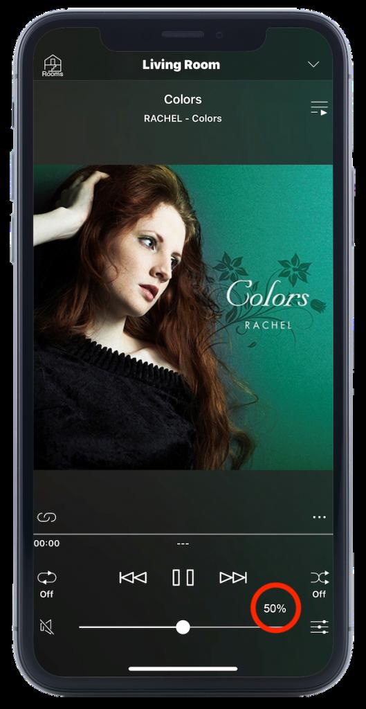 Volume as percentage in MusicCast app.