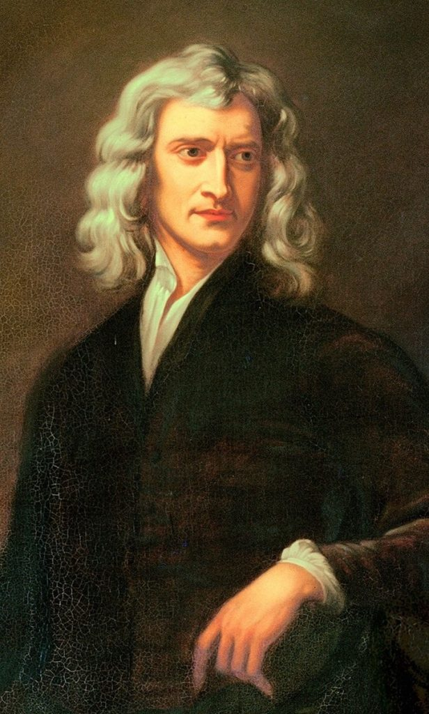 Painted portrait of Isaac Newton.