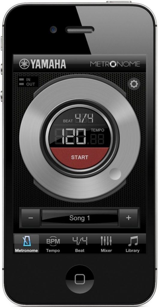 Smartphone with Metronome app on screen.