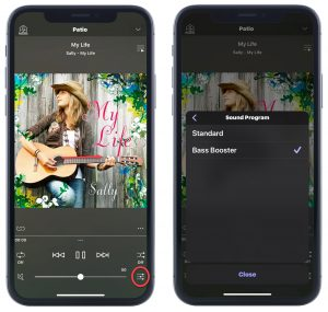 Music app in use.