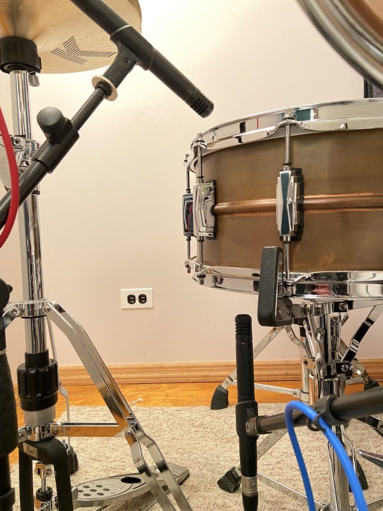 Top and bottom snare microphones.