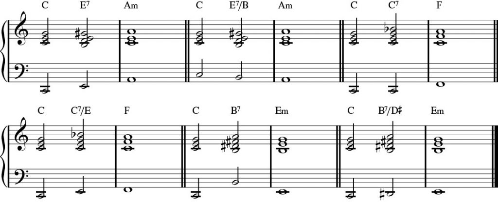 Alternate Bass Notes for the passing chords.