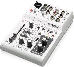 White Yamaha AG03 mixer.