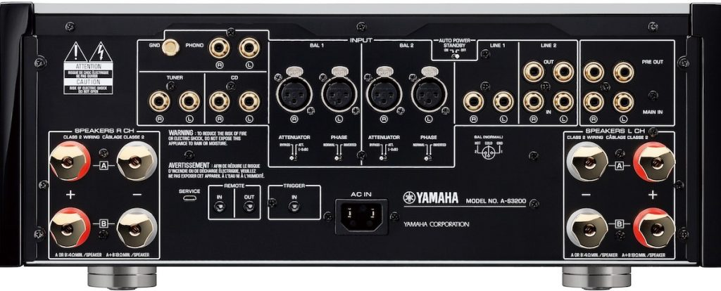 The rear panel of the Yamaha A-S3200 integrated amplifier.