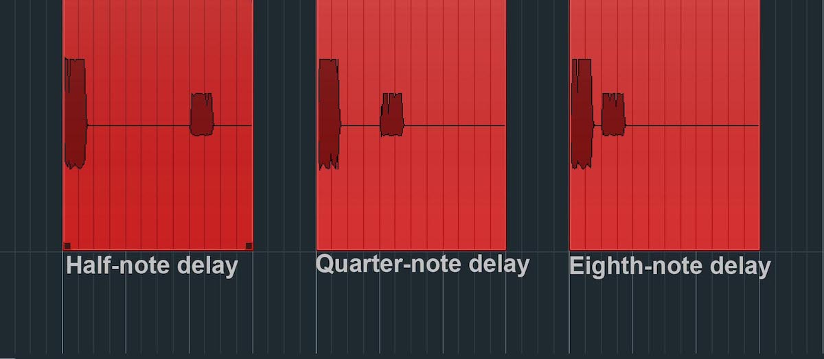 The distance between the original and delayed notes at various time settings.