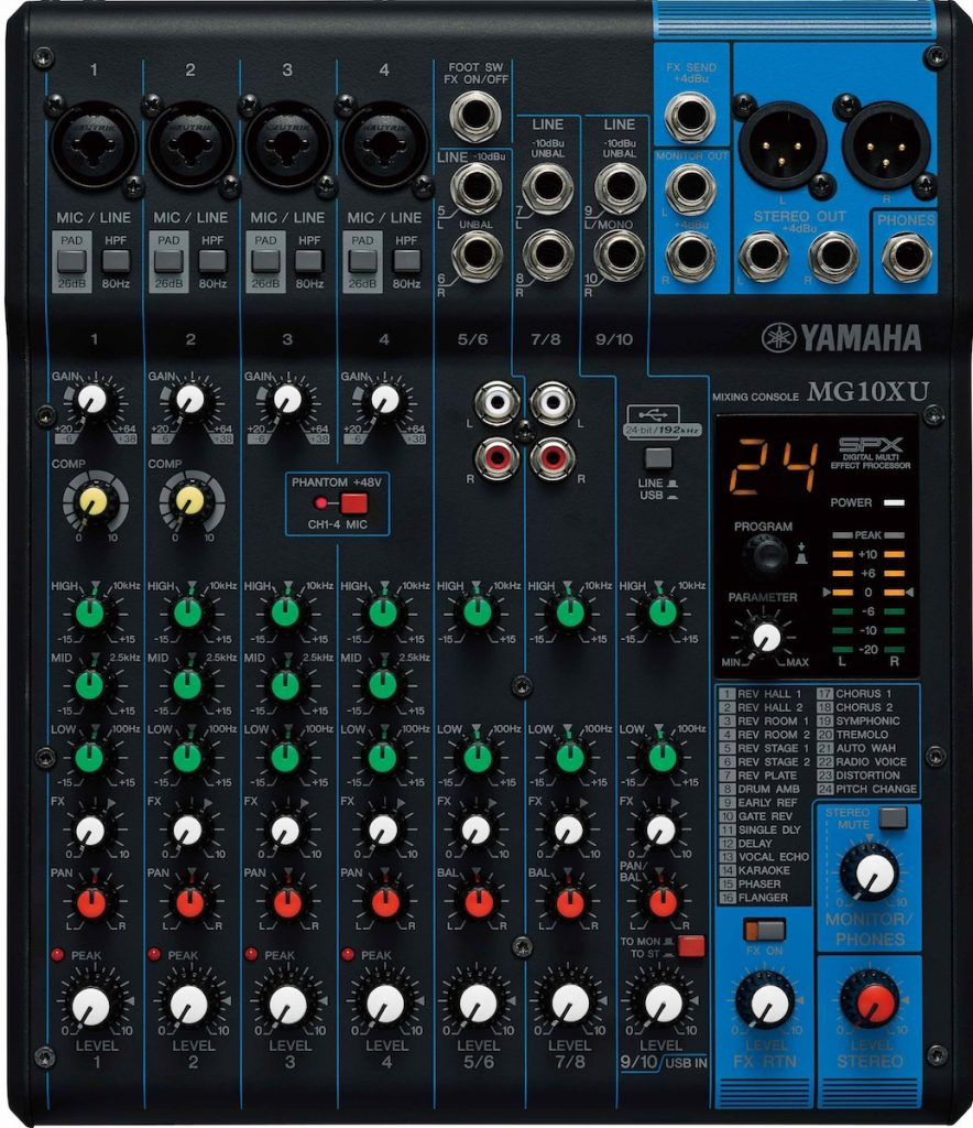 The Yamaha MG10XU mixer offers plenty of channels and a USB output.