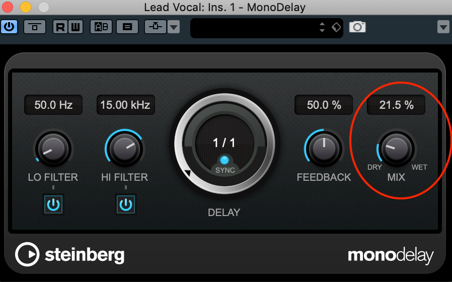 With an insert delay, the mix knob controls the dry-to-wet ratio.