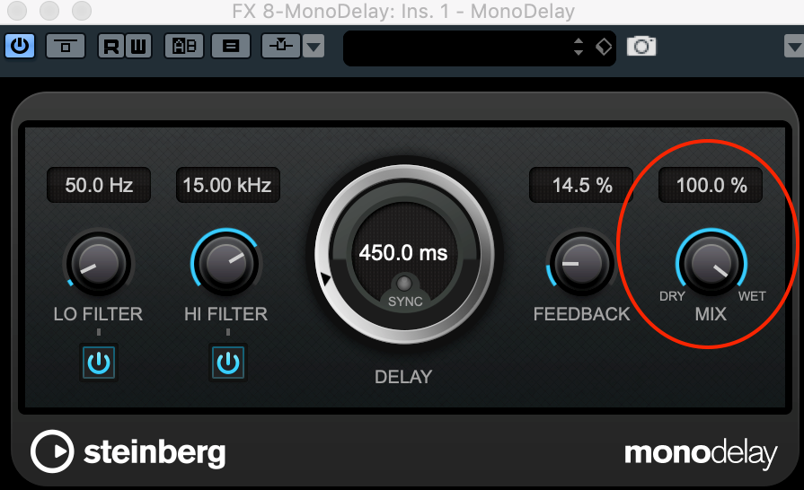 If you're sending signal to a delay from an aux send, set the delay mix to 100% as shown in the red circle on the image.