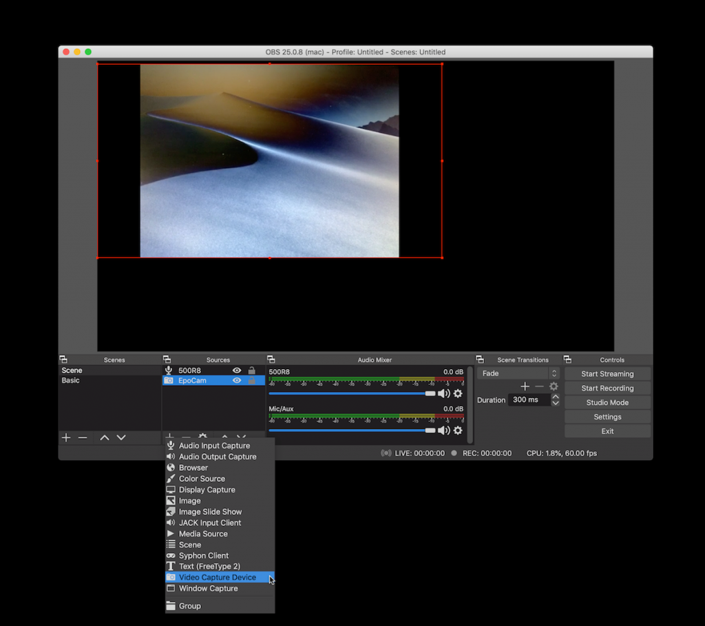 Screenshot of OBS encoder software.