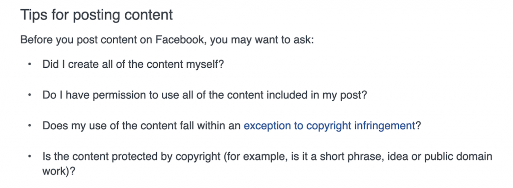 Facebook's tips on posting and copyright for livestream content.