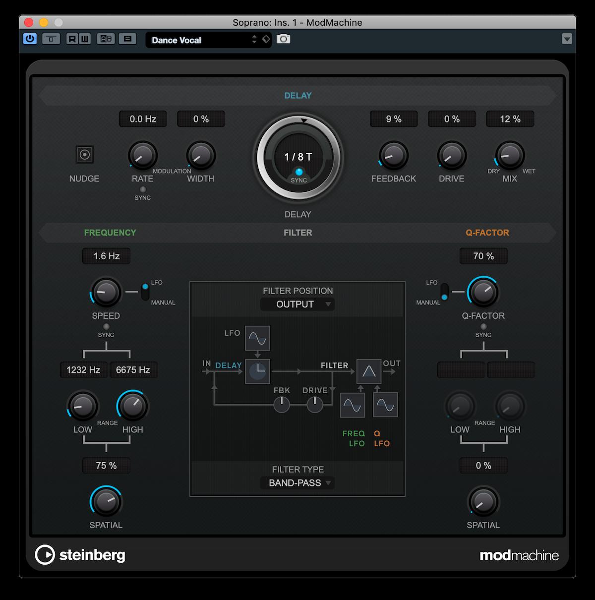 Screenshot of the Cubase Pro ModMachine plug-in.