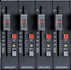 "The ""ST"" button assigns a group to the main stereo L/R mix."