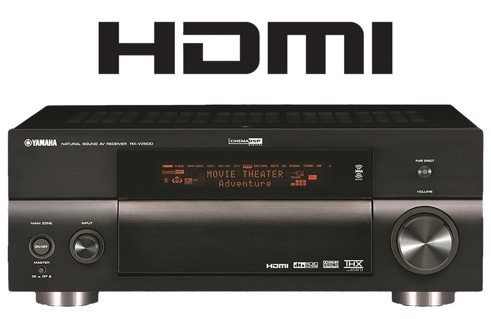 HDMI logo with the view of the front of an AV receiver.
