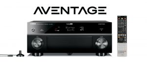 Aventage logo and front view of receiver and its remote control.