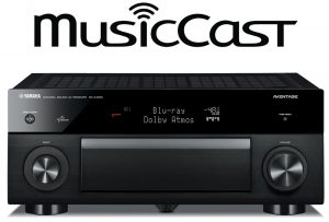 MusicCast logo and front view of electronic unit.