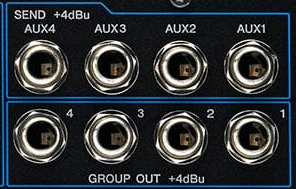 Four Group outputs and four Aux outputs on the Yamaha MG20XU.