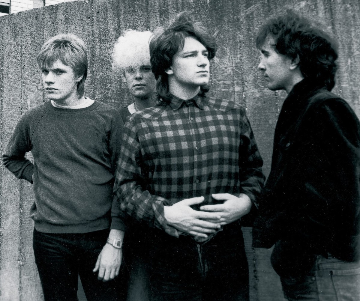 U2 in the early days with Larry Mullen Jr., Adam Clayton, Bono, and the Edge.