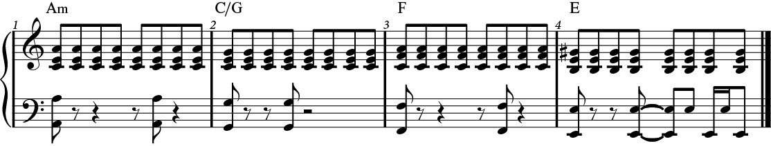 Rhythm example with steadily repeated notes.