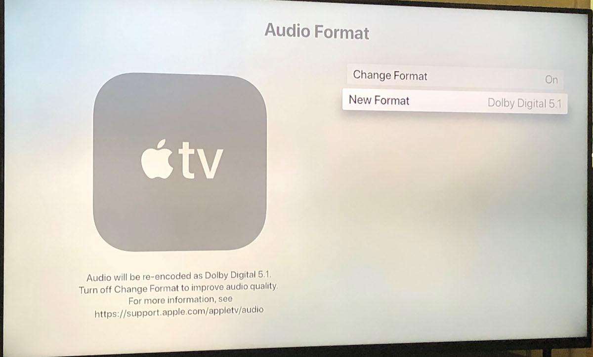 Apple TV Audio format screen.