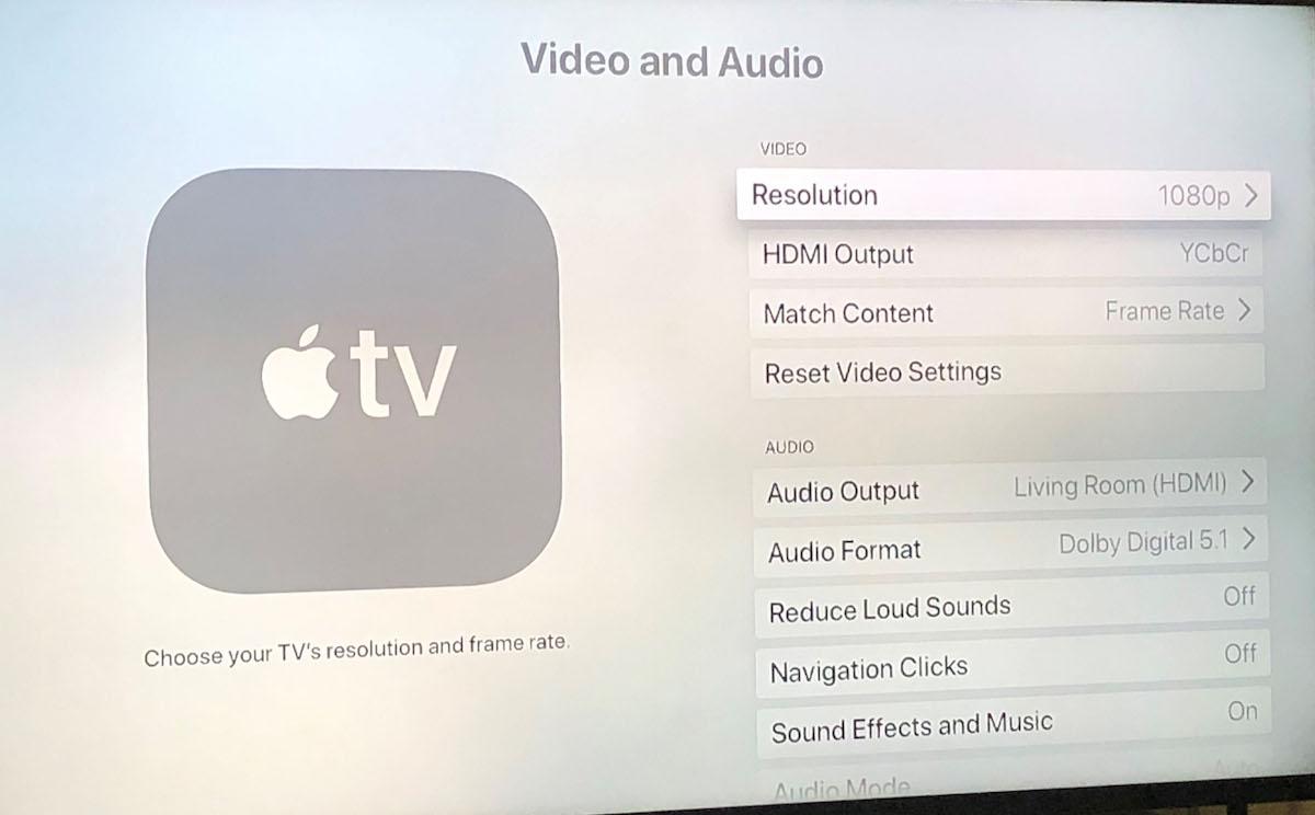 Apple TV Video and Audio settings screen.