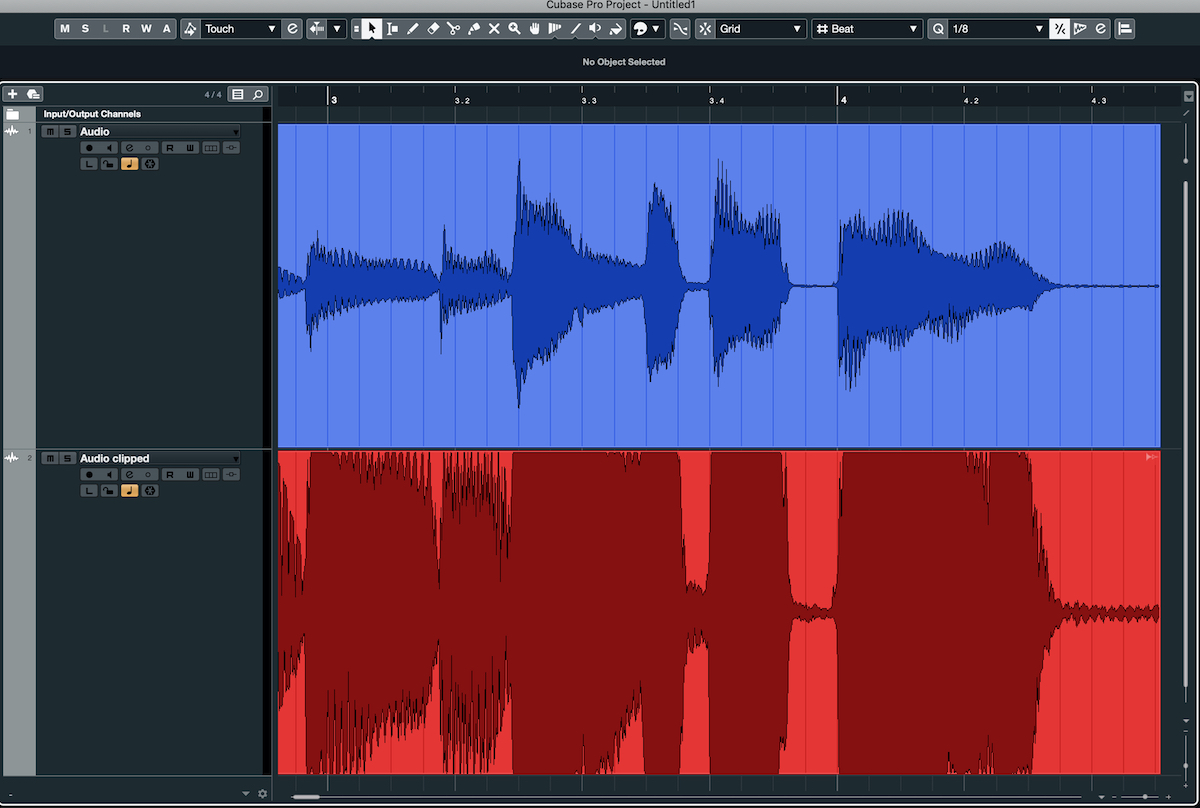 A guitar waveform (above) that has been clipped (below).
