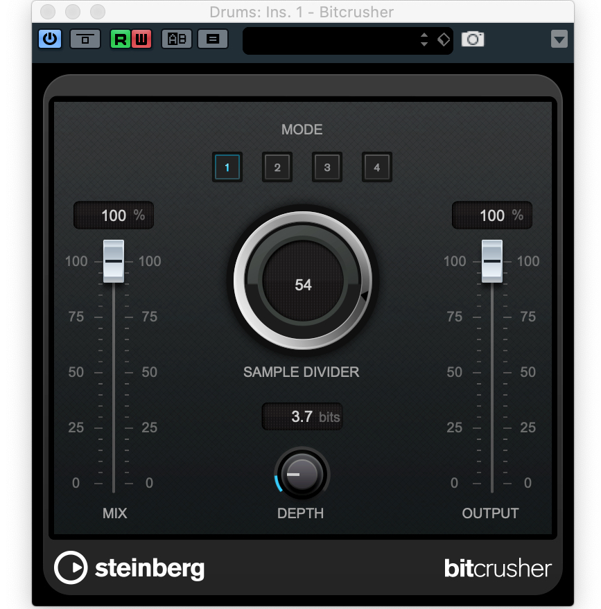 The Cubase bitcrusher settings used at the end of the above audio clip.