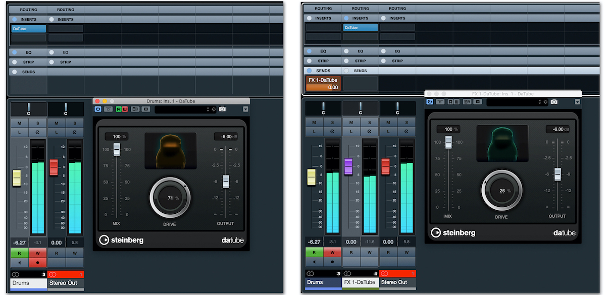 The Cubase DaTube plug-in, used as an insert (left) and in parallel (right).