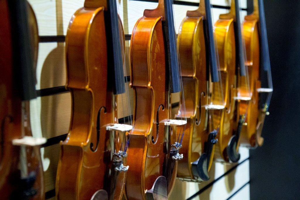 Display of many violins against the wall.