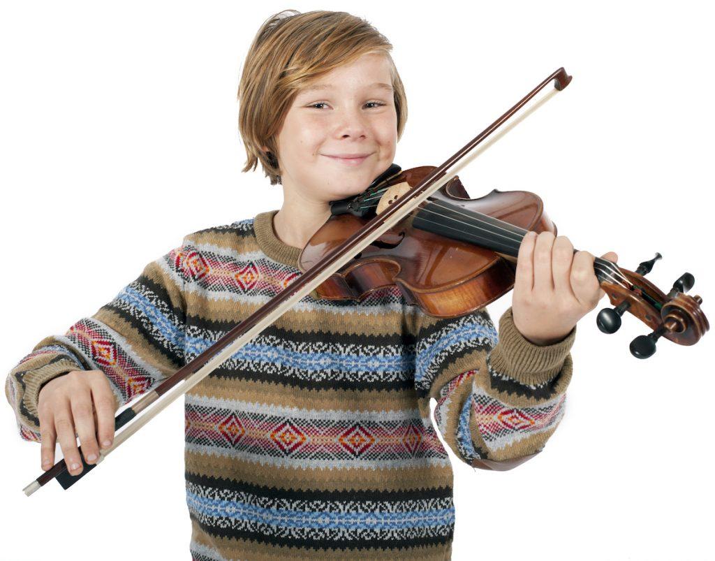 Blonde boy playing the violin.