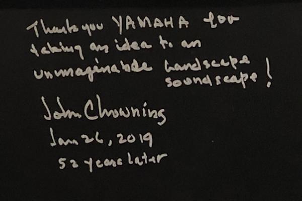 Handwritten note by John Chowining on Yamaha MODX.