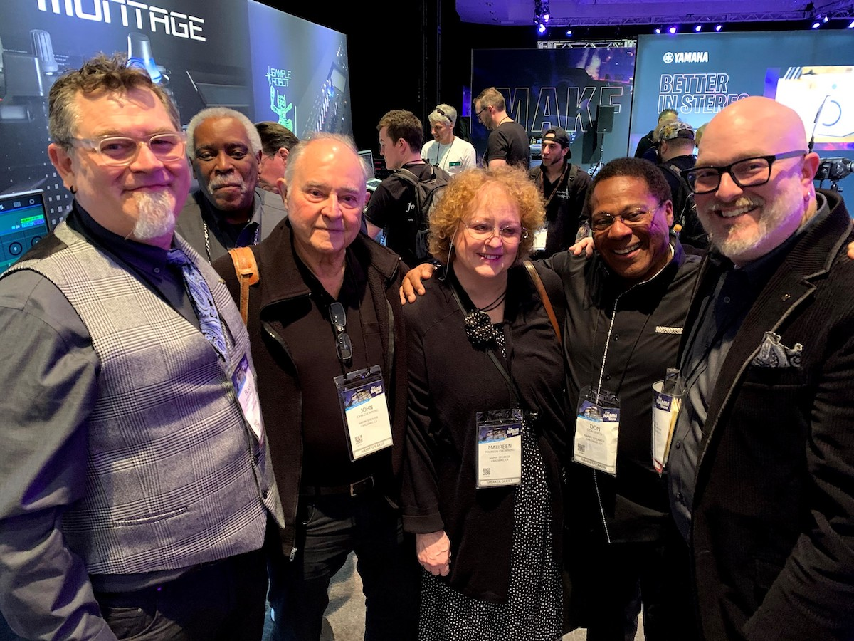 John Chowning and the Yamaha synth team at NAMM 2019. From left to right: Blake Angelos, Phil Clendeninn, John Chowning, Maureen Chowning, Don Lewis, Nate Tschetter.