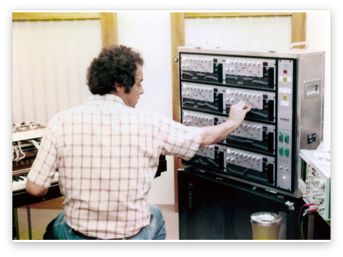 John Chowning working with the GS-1 external programmer.