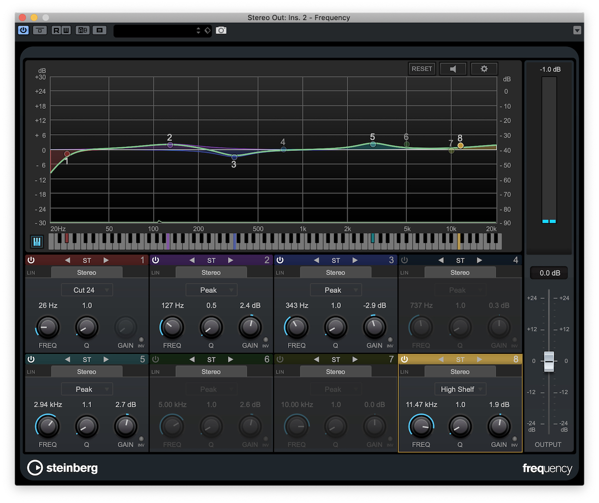 Cubase allows you to tweak your mix's EQ in many frequency ranges.
