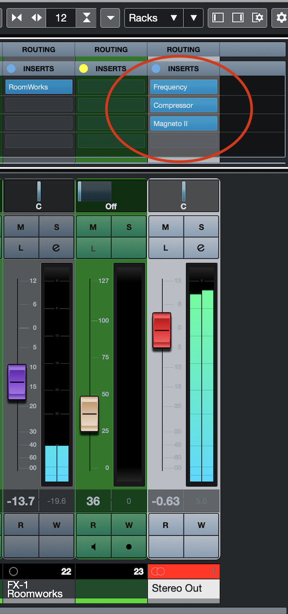 This master bus effects chain consists of EQ, compression and tape saturation, in that order.