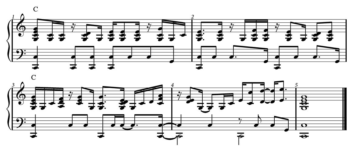 Rhythmic chords in C Major.