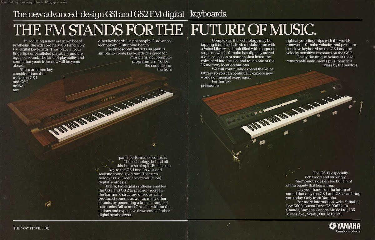 The introductory ad for the GS1 and GS2 (and FM synthesis!).