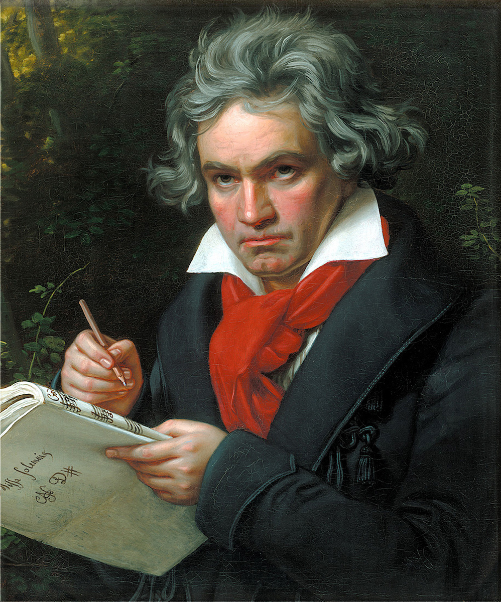 Painted portrait of Ludwig van Beethoven.
