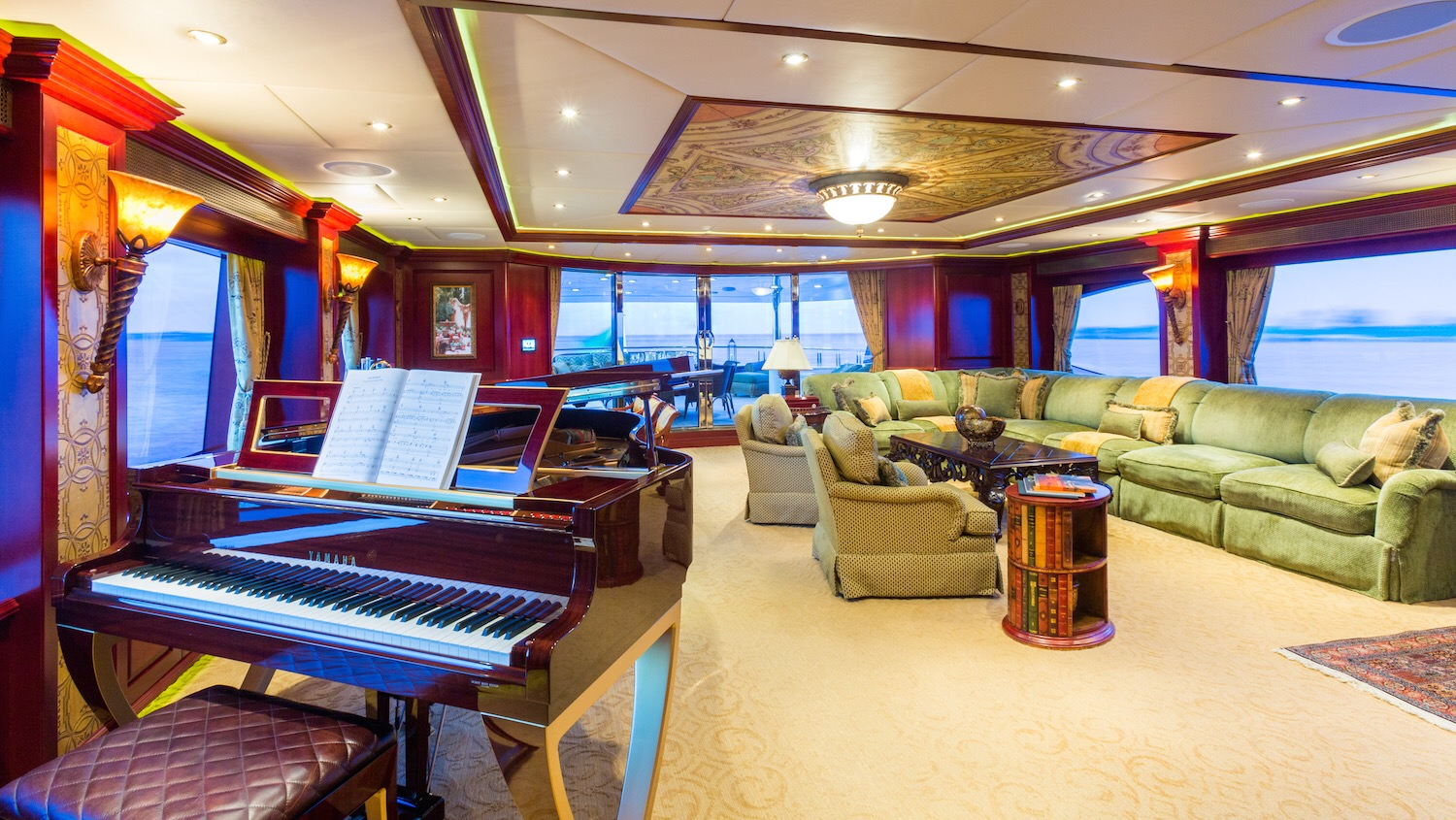Grand piano in a formal living room setting on a yacht.