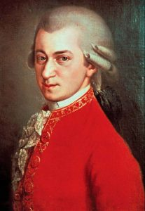 Painted portrait of Wolfgang Amadeus Mozart.